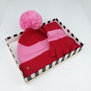 Kate Spade | Colorblock Beanie Hat and Gloves Set